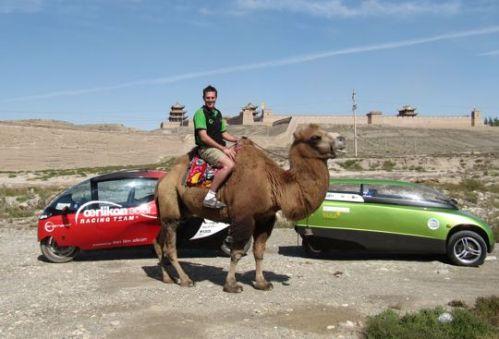 Dickson tries a local renewable energy vehicle (courtesy of Zero Race)