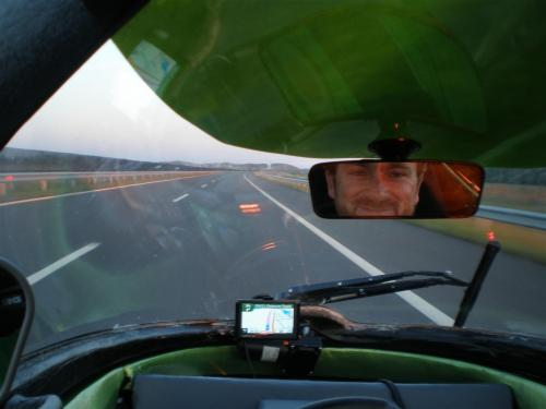 Michael driving Trev in Hungary